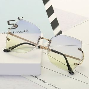 Blue and Yellow Rimless Clear Sunglasses Shades